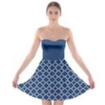 Navy blue quatrefoil pattern Strapless Bra Top Dress