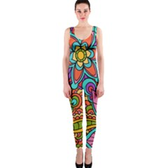 Festive Colorful Ornamental Background Onepiece Catsuit by TastefulDesigns