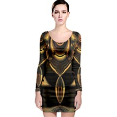 Golden Metallic Geometric Abstract Modern Art Long Sleeve Bodycon Dress by CrypticFragmentsDesign