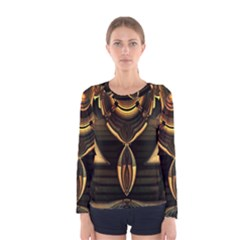 Golden Metallic Geometric Abstract Modern Art Women s Long Sleeve Tee by CrypticFragmentsDesign