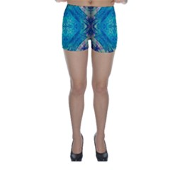 Boho Hippie Tie Dye Retro Seventies Blue Violet Skinny Shorts by CrypticFragmentsDesign