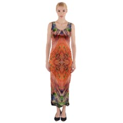 Boho Bohemian Hippie Floral Abstract Faded  Fitted Maxi Dress by CrypticFragmentsDesign
