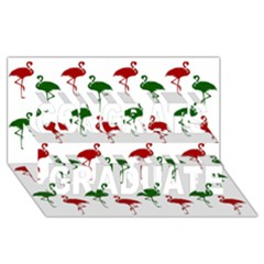 Flamingos Christmas Pattern Red Green Congrats Graduate 3d Greeting Card (8x4) by CrypticFragmentsColors