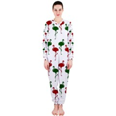 Flamingos Christmas Pattern Red Green Onepiece Jumpsuit (ladies) by CrypticFragmentsColors