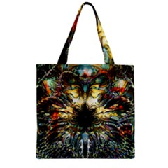 Metallic Abstract Flower Copper Patina Zipper Grocery Tote Bag by CrypticFragmentsDesign