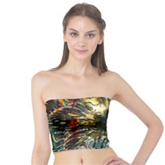 Metallic Abstract Flower Copper Patina Tube Top by CrypticFragmentsDesign
