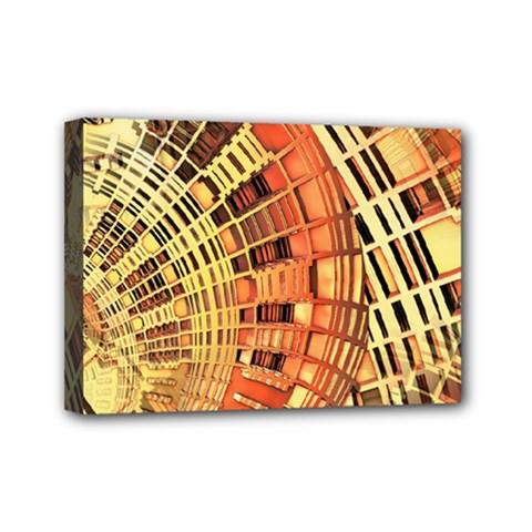 Semi Circles Abstract Geometric Modern Art Orange Mini Canvas 7  X 5  by CrypticFragmentsDesign