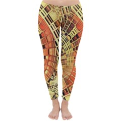 Semi Circles Abstract Geometric Modern Art Orange Winter Leggings  by CrypticFragmentsDesign