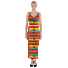 Shapes In Retro Colors Pattern                        Fitted Maxi Dress by LalyLauraFLM