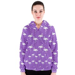 Flamingos Pattern White Purple Women s Zipper Hoodie by CrypticFragmentsColors