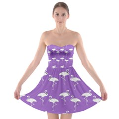 Flamingos Pattern White Purple Strapless Dresses by CrypticFragmentsColors