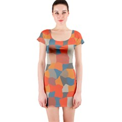 Retro Colors Distorted Shapes                           Short Sleeve Bodycon Dress by LalyLauraFLM
