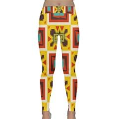 Retro Colors Squares Pattern                            Yoga Leggings by LalyLauraFLM