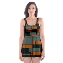 Rectangles In Retro Colors                              Skater Dress Swimsuit by LalyLauraFLM