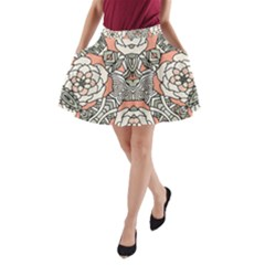 Petals, Vintage Pink, Bold Flower Design A Line Pocket Skirt by Zandiepants