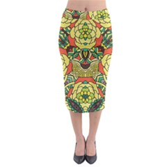 Petals   Retro Yellow   Bold Flower Design Midi Pencil Skirt by Zandiepants