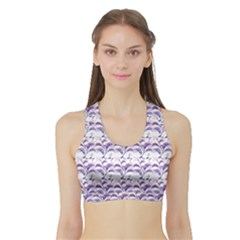 Floral Stripes Pattern Women s Sports Bra With Border by dflcprintsclothing