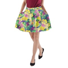 Tropical Flowers And Leaves Background A Line Pocket Skirt by TastefulDesigns