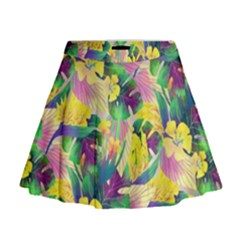 Tropical Flowers And Leaves Background Mini Flare Skirt by TastefulDesigns