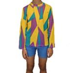 Bursting Star Poppy Yellow Violet Teal Purple Kid s Long Sleeve Swimwear