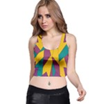Bursting Star Poppy Yellow Violet Teal Purple Racer Back Crop Top