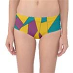 Bursting Star Poppy Yellow Violet Teal Purple Mid-Waist Bikini Bottoms