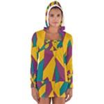 Bursting Star Poppy Yellow Violet Teal Purple Women s Long Sleeve Hooded T-shirt