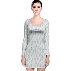 Whimsical Feather Pattern, Dusk Blue Long Sleeve Velvet Bodycon Dress by Zandiepants