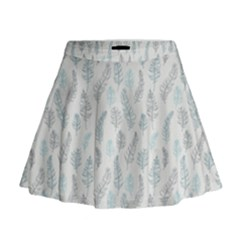 Whimsical Feather Pattern, Dusk Blue Mini Flare Skirt by Zandiepants