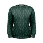 Whimsical Feather Pattern, Forest Green Women s Sweatshirt
