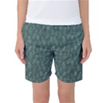 Whimsical Feather Pattern, Forest Green Women s Basketball Shorts
