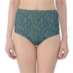 Whimsical Feather Pattern, Forest Green High-Waist Bikini Bottoms