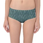 Whimsical Feather Pattern, Forest Green Mid-Waist Bikini Bottoms