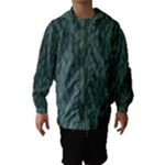 Whimsical Feather Pattern, Forest Green Hooded Wind Breaker (Kids)