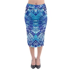 Blue Mirror Abstract Geometric Midi Pencil Skirt by CrypticFragmentsDesign