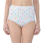 Whimsical Feather Pattern,fresh Colors, High-Waist Bikini Bottoms
