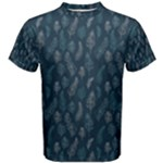 Whimsical Feather Pattern, Midnight Blue, Men s Cotton Tee
