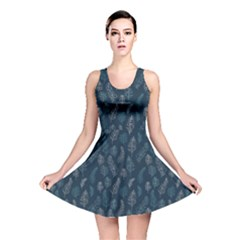 Whimsical Feather Pattern, Midnight Blue, Reversible Skater Dress by Zandiepants