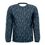 Whimsical Feather Pattern, Midnight Blue, Men s Long Sleeve Tee