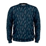 Whimsical Feather Pattern, Midnight Blue, Men s Sweatshirt