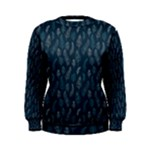 Whimsical Feather Pattern, Midnight Blue, Women s Sweatshirt