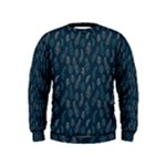 Whimsical Feather Pattern, Midnight Blue, Kids  Sweatshirt