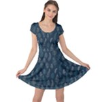 Whimsical Feather Pattern, Midnight Blue, Cap Sleeve Dresses