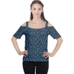 Whimsical Feather Pattern, Midnight Blue, Women s Cutout Shoulder Tee