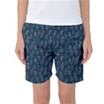 Whimsical Feather Pattern, Midnight Blue, Women s Basketball Shorts