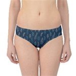 Whimsical Feather Pattern, Midnight Blue, Hipster Bikini Bottoms