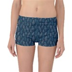 Whimsical Feather Pattern, Midnight Blue, Reversible Boyleg Bikini Bottoms