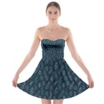 Whimsical Feather Pattern, Midnight Blue, Strapless Dresses