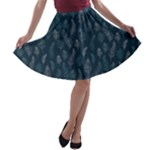 Whimsical Feather Pattern, Midnight Blue, A-line Skater Skirt