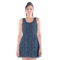 Whimsical Feather Pattern, Midnight Blue, Scoop Neck Skater Dress by Zandiepants
